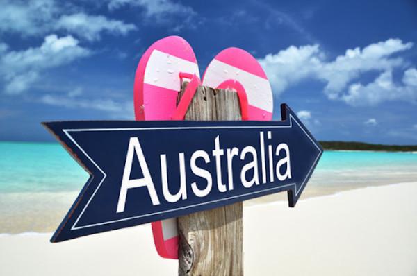 Australia sign on the beach